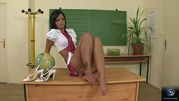 Black Angelika masturbates in after school detention