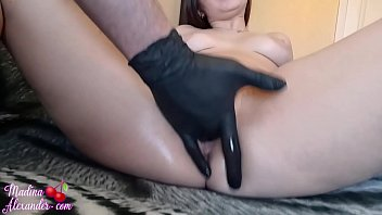 Pussy Licking and Masturbation with Rubber Gloves - Squirt