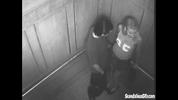 Lesbians caught on security cam Sexy time in the elevator gets caught on cam