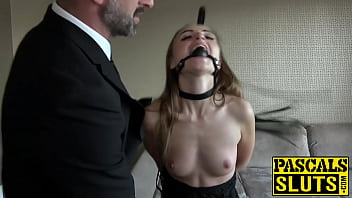 Petite Lady Bug fucked in the face before anal penetration