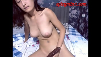 Big Titties Asian Babe Fondles her Pussy