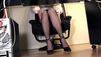 Vintage secretary desk Leggy secretary fingering at the office in nylons