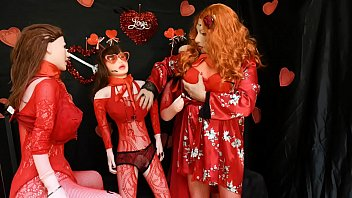 Cosplay Sissy Valentines Day with Three Inflatable love dolls pictures
