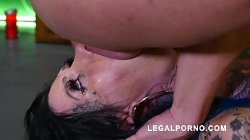 Megan Inky first time on LP with nasty deepthroat & balls deep DP S006 70 sec