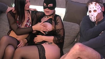 German sperm bitch Jessy and her friend Lisa which is pregnant in the 7th month are fighting with 18 cocks