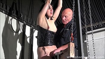 Wooden horse bondage and screaming sex toys orgasm of tied amateur slave Honesty Calliaro in hardcore BDSM session