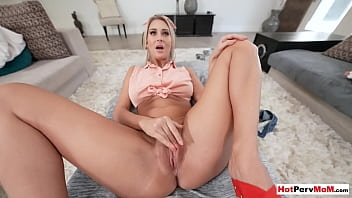 Submissive blonde MILF stepmother Jordan Maxx cleaning stepsons big cock