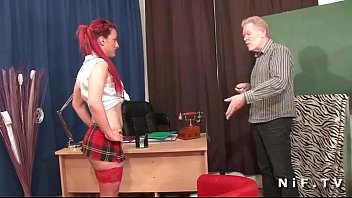 French redhead slut gets her ass fucked in threeway at school