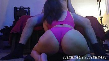 Hot Floor Wide View Of Big Booty Latina Sucking Hairy Man's Cock Thong Fetish