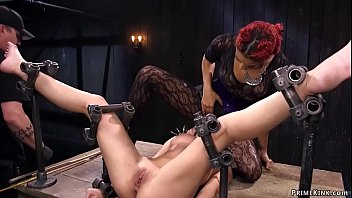 Shackled on back with legs in the air
