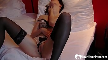 Hot girlfriend teases with some lingerie while masturbating