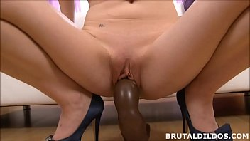 Mary stuffs Blue Elis mouth and pussy with a huge dildo 7 min