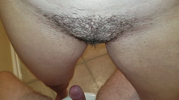 Teen pisses on hard cock