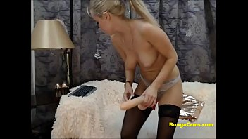 Passionate masturbation with a toy