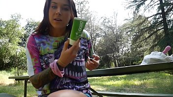 DP with toys asshole and pussy outdoors felicity feline