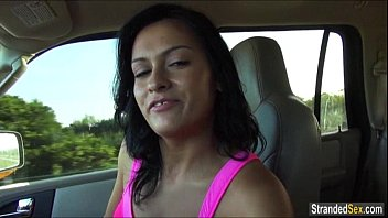 Teen Nadia flashes cars with her tits to get a free ride