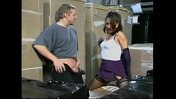 Two workers fucking the boss's daughter in the warehouse