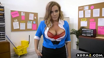 Student catches busty teacher masturbating and fucks her