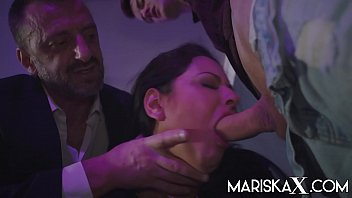 MARISKAX Mariska gets filled up by two big cocks