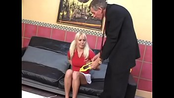 Cute blonde Summer Sweet was caught by her angry uncle with cigarette and drilled on the coffee table as a punishment