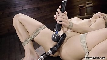 Blonde in rope bondage machine fucked
