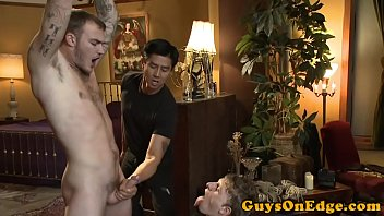 Gay bondage breath control Bdsm doms cocksucking and jerking compliation