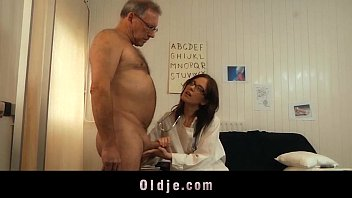 Old woman makes a man cum - Young doctor fucking and sucking old patient cock with her glasses on