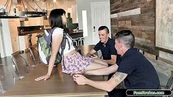 Brunette stepsis banged by two stepbros