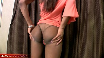 Ebony TS shows exceptionally huge tits and wanks cock in POV