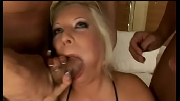 Naughty European Blonde Chick L. Blonde Has Eyes For Getting Drilled By Couple Of Well Stuffed Dudes At One Time