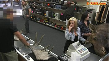 Blonde fucked in the pawnshop while making out with lesbian