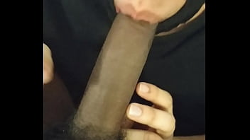 sucking my straight friend's big black cock