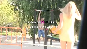 Monica picks up a dude and sucks his dick in a public park
