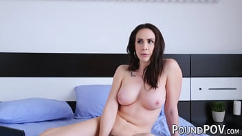Busty stepmom seduces her stepson into fucking her anally