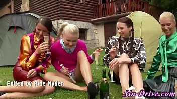 Outdoor music girls have piss and fuck fun
