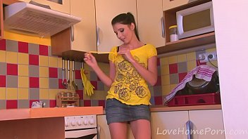 Cute teen strips off her clothes on camera