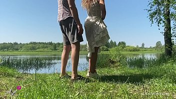 Passionate Sex of a Teen Amateur Couple by a Summer Lake Outdoor