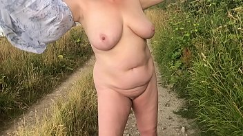Wife stripping naked and playing outdoors and playing