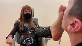 Submissive Guy Kneels In Front of Goddess Kira and Serves Here Foot - Sucks Toes and Licks Her Feet (Preview)