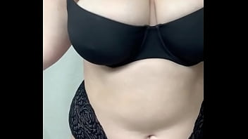 My chubby slut sister shows off her lingerie and big tits to turn me on