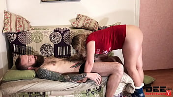Young Beautiful Girl Passionately Fucks Girlfriend's Lover and Gets Cum on Big Ass