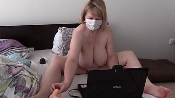 Mature housewife again masturbates with a stranger in sex chat and dildo fucks her hairy pussy. Big tits and fat belly.