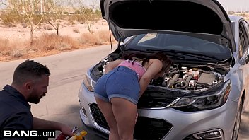 Valentina Nappi goes skinny dipping her roadside mechanic
