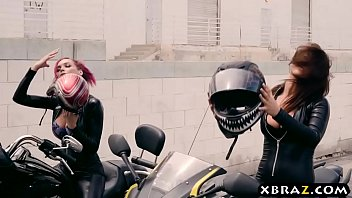 Emo biker babes banged by two thugs in their clubhouse