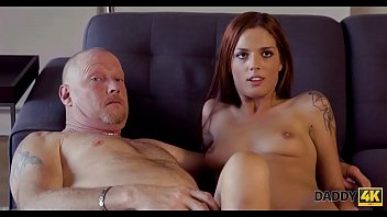 DADDY4K. Comely redhead cheats on coward boyfriend with his hung dad