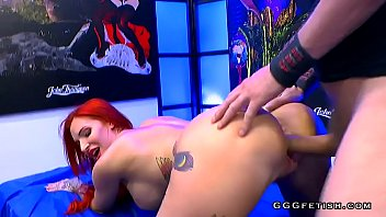 Redhead busty slut gets anal with bukkakes