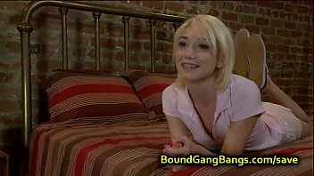 Tied up blonde asshole fucked in group preview image