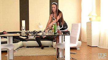 CoverFlexible French Maid gets her Ass Double Penetrated by Boss