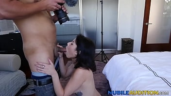 Reverse cowgirl with dark haired babe at her sex auditions