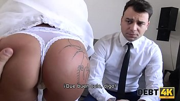 DEBT4k. Horny Wife Cheats On Her Husband For Cash In Front Of Him